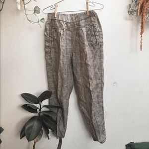 Linen striped culottes cropped pants
